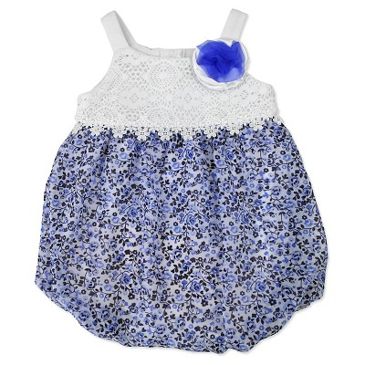 Baby Grand Signature Baby Girls' Bubble Romper - Blue 0-3M