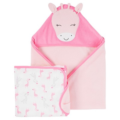 Baby Girls' Pink Giraffe 2 Pack Towels  - Just One You™Made by Carter's®