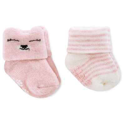 Just One You™Made by Carter's® Baby Girls' 2 Pack Kitty/Stripe Socks - Pink