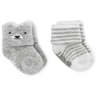 Just One You™Made by Carter's® Baby Boys' 2 Pack Bear/Stripe Socks - Grey