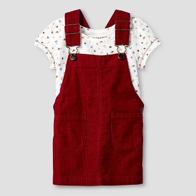 Baby Girls' Slub Jersey Top & Cord Skirtall 2Pc Set Floral Print/Red - 18M - Genuine Kids from Oshkosh™