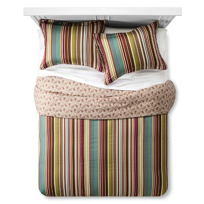 Ila Striped Duvet Cover Set (King) Magenta - Bedeck 1951®