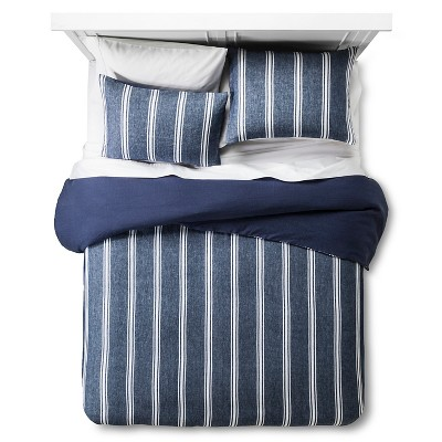 Linen Yarn-Dye Stripe Duvet Cover Set (Queen) Denim Blue 3pc - The Industrial Shop™