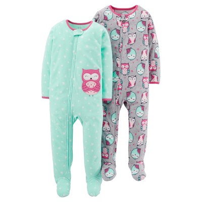 Just One You™Made by Carter's® Girls' 2 Pack Mint Owl Blanket Fleece Footed Sleepers 12M