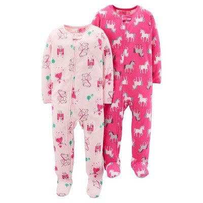 Just One You™Made by Carter's® Girls' 2 Pack Pink Unicorns Blanket Fleece Footed Sleepers 12M