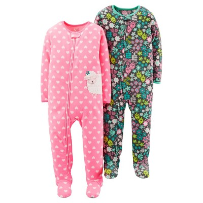 Just One You™Made by Carter's® Girls' 2 Pack Pink Floral Sheep Blanket Fleece Footed Sleepers 12M