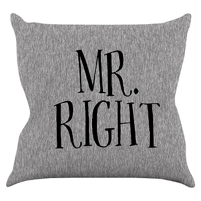 "KESS Original ""Mr. Right"" Throw Pillow - Gray (20"" x 20"")"