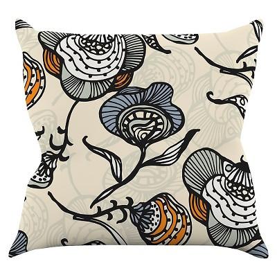 """KESS Gill Eggleston """"Future Nouveau"""" Throw Pillow - Tan/Gray (16"""" x 16"""")"""