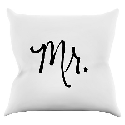 "KESS Original ""Mr. White"" Throw Pillow - White (16"" x 16"")"