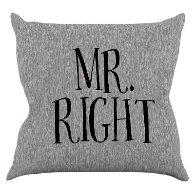 "KESS Original ""Mr. Right"" Throw Pillow - Gray (16"" x 16"")"