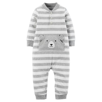 Just One You™Made by Carter's® Baby Boys' Stripe Bear Jumpsuit 3M - Grey