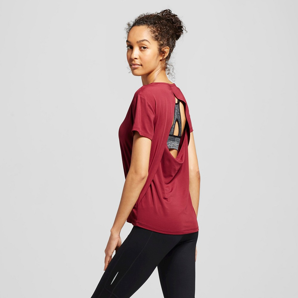 C9 Champion Women's Cut Out Fashion Tee - Bordeaux Red Solid Xxl