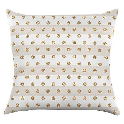 """KESS Pellerina Design """"Linen Polka Stripes"""" Throw Pillow - Gold Dots (18"""" x 18"""")"""