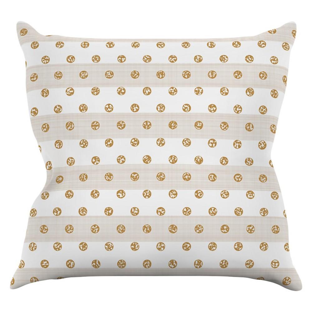 "Kess Pellerina Design """"Linen Polka Stripes"""" Throw Pillow - Gold Dots (20"""" x 20""""), Nude"