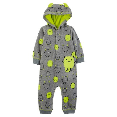 Just One You™Made by Carter's® Baby Boys' Hooded Monster Jumpsuit NB - Grey/Lime