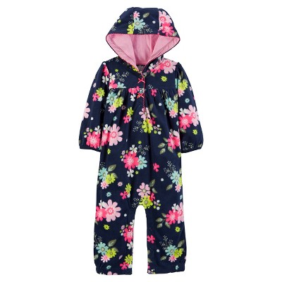 Just One You™Made by Carter's® Baby Girls' Hooded Floral Jumpsuit 6M - Navy