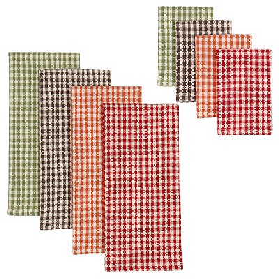 Harvest Checks Heavyweight Dishtowels and Dishcloths Set (set includes 4 towels and 4 cloths)