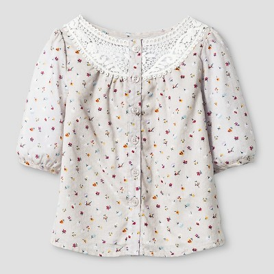 Baby Girls' Floral Dobby Top button Down Shirt  - Almond Cream 12M - Genuine Kids™