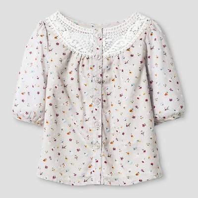 Baby Girls' Floral Dobby Top button Down Shirt  - Almond Cream 12M - Genuine Kids™