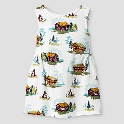 Baby Girls' Sleeveless Cabin Print Dress White 12M - Genuine Kids from Oshkosh™