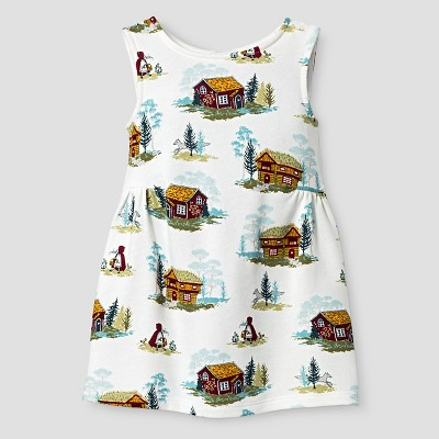Baby Girls' Sleeveless Cabin Print Dress White 18M - Genuine Kids from Oshkosh™
