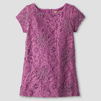 Genuine Kids Baby Girls' Embroidered Lace Shift Dress - Purple