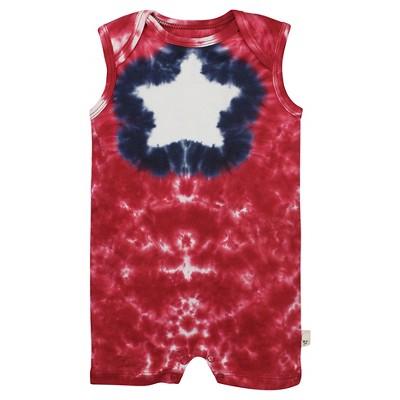 Burt's Bees Baby™ Star Tie Dye Shortall - Cranberry 3-6M