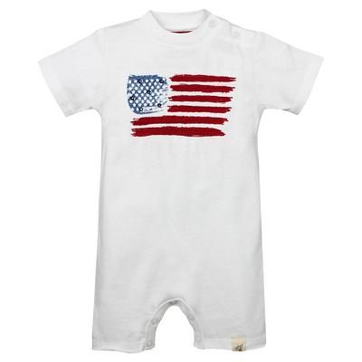 Burt's Bees Baby™ American Flag Shortall - White 3-6M