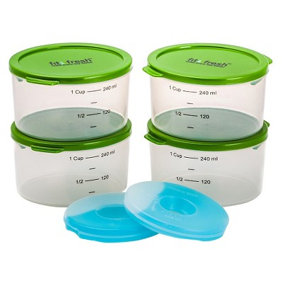 Fit & Fresh 1-Cup Smart Portion Container Set with Ice Packs