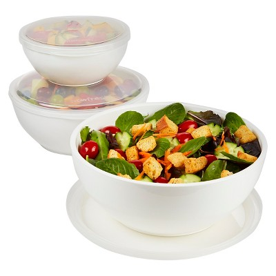 Fit & Fresh Chilled Serving Bowls - White Set of 3