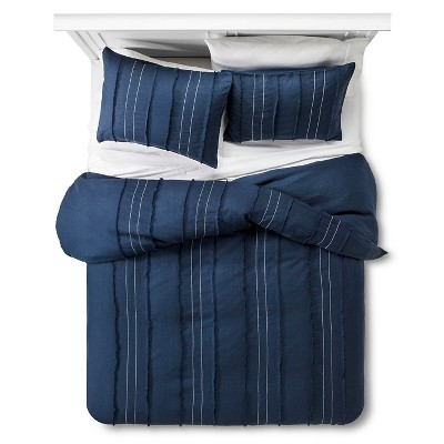 Linen Pleated & Pick Stitch Duvet Cover Set King Blue 3 pc - The Industrial Shop™