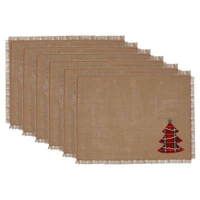 Tree Embroidered Burlap Placemats - Set of 6