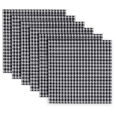 Houndstooth Placemats - Set of 6 - Black and White