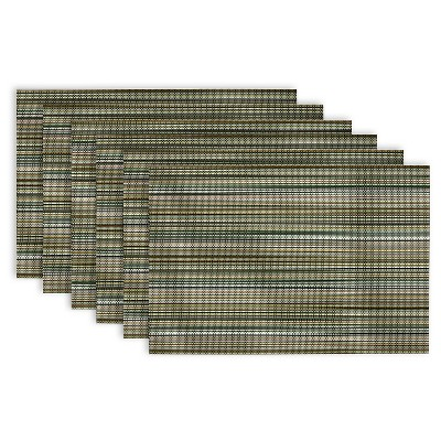 Micro Stripe Placemats - Set of 6 - Olive