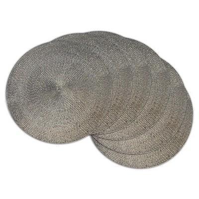 Metallic Round Woven Placemats - Set of 6 - Metallic Brown