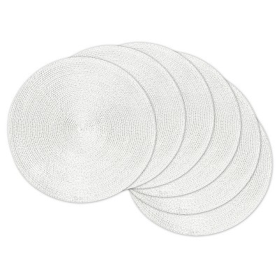 Metallic Round Woven Placemats - Set of 6 - Metallic White