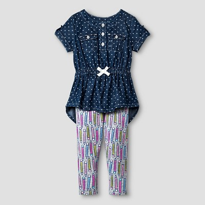 Baby Girls' Denim Top and Bottom Set - Blue 18M - Cat & Jack™