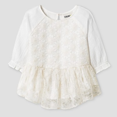 Baby Girls' Baby Girls' 3/4 Sleeve Sparkle Peplum Top Cream - 12M - Genuine Kids from Oshkosh™