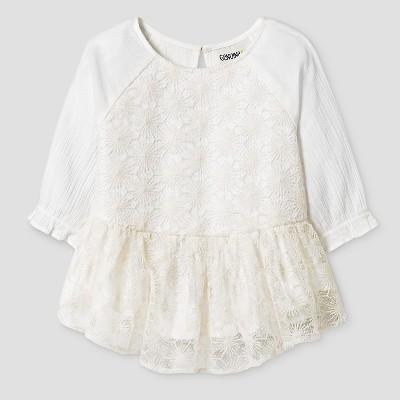 Baby Girls' Baby Girls' 3/4 Sleeve Sparkle Peplum Top Cream - 18M - Genuine Kids from Oshkosh™