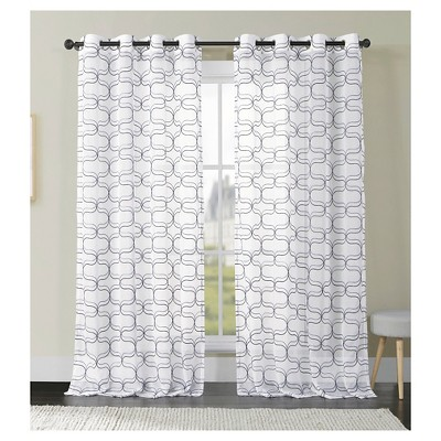 VCNY Khara Faux Linen Curtain Panel - White/Taupe (52x84)