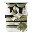 Darcey Horizontal Pieced Bed Set Queen 10 Piece - Green