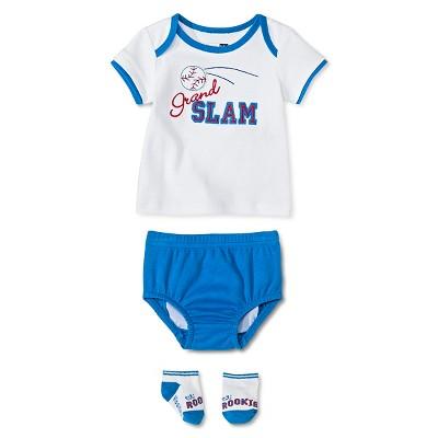 Vitamins Baby 3 Piece Diaper, Sock & Shirt Set - Navy 6M