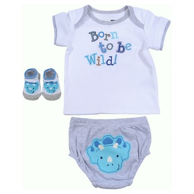 Vitamins Baby 3 Piece Diaper, Sock & Shirt Set - Grey 3M