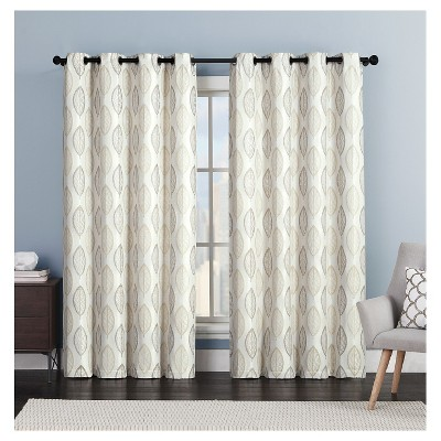 Bali Leaf Jacquard Grommet Curtain Panel - Natural (54x84)