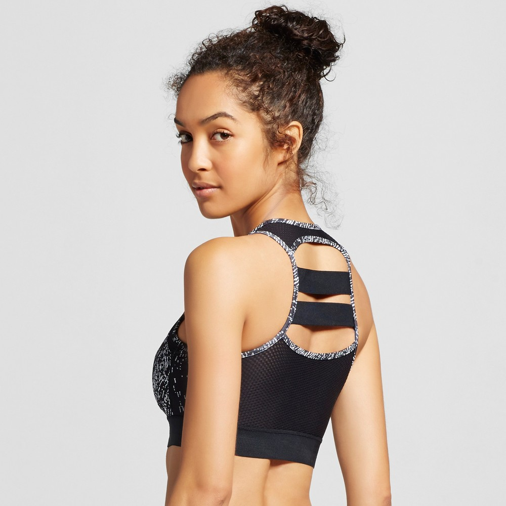 C9 Champion Women's Strappy Back Sports Bra - Sketch Print Black/White M, Size: Medium, Black/White Print