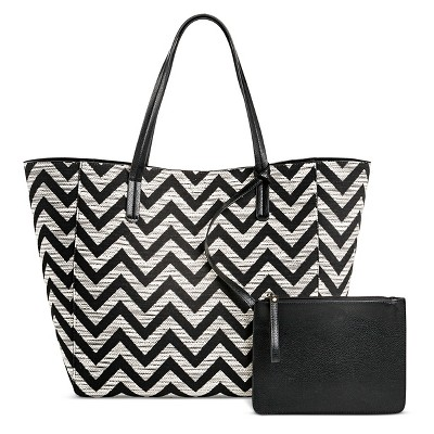 Women's Reversible Tote Handbag Black White - Merona™
