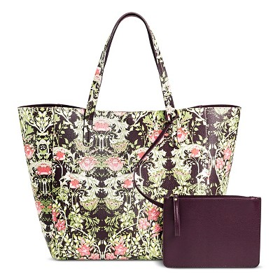 Women's Faux Leather Reversible Tote Handbag Floral Print- Merona™