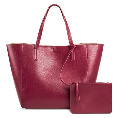 Women's Faux Leather Reversible Tote Handbag Berry- Merona™