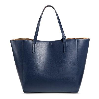 Women's Faux Leather Reversible Tote Handbag Navy- Merona™