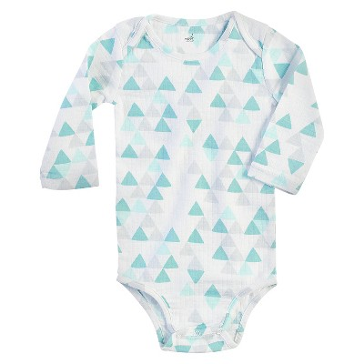 Aden + Anais® Baby Long-Sleeve Geo Triangle Bodysuit - White/Turquoise 0-3M